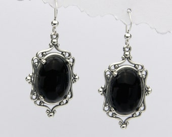Angeline Quinn Antique Style Onyx and Sterling Silver Earrings
