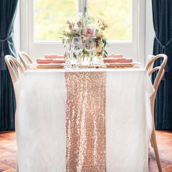 Rose Gold Sequin Table Runner, Glitter Wedding Table Decor, Sparkly Table Linens for Bridal Shower, Engagement Party, Event READY TO SHIP