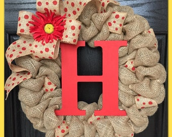 Spring Chevron Burlap Wreath with Initial- Front Door Wreath- Wedding Gift- Monogram Wreath