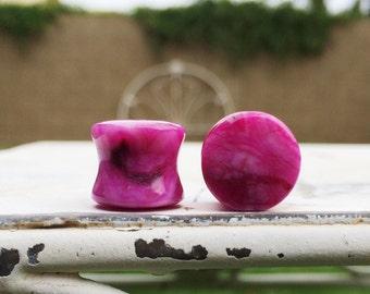 "Fuchsia Agate Stone Plugs 6g 4g 2g  1/2"" (12mm)"