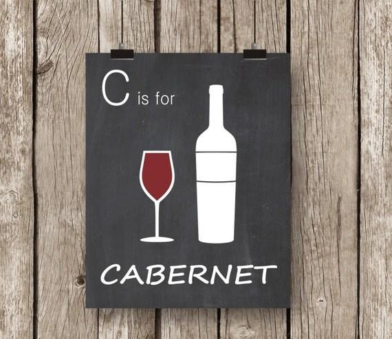 Red wine art print cabernet red wine chalkboard by for Wine chalkboard art