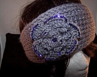 Gray Flower Knit Headband,Cute Turban Headband,Earwarmer,Hair Accessories,Head wrap,headband ,Fall and winter hair accessory