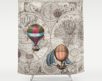 Hot Air Balloon Shower Curtain - antique map - derigibles - retro Steampunk Home Decor, Bathroom maps, antique brown, beige, industrial chic