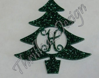4 inch Christmas Tree Ornament Monogram Acrylic Style 2 - Initial, Customized, Christmas Ornament - Vine Monogram