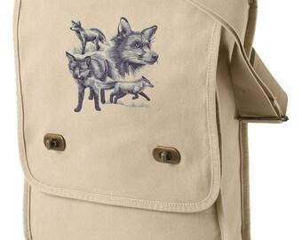Fox Bag, Fox Messenger Bag, Fox Sketch Embroidered Canvas Field Bag