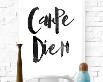 Carpe Diem, Seize The Day, Black and White Art, Scandinavian Poster, Typographic Art, Gift Idea, Bedroom Art, Boudoir, Distressed Print.