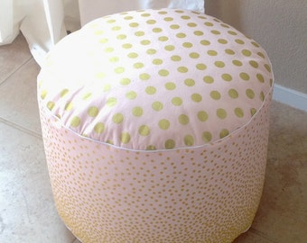 Pink and Gold Pouf- Floor Pouf- Nursery Pouf- Ottoman Cushion