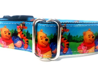 Dog Collar - All Sizes - Winnie the Pooh and Friends Dog Collar-Adjustable