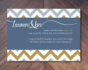 Fall Chevron Wedding Invitation