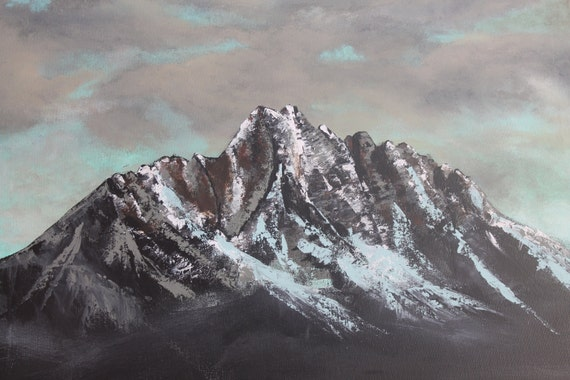 Stormy Mountain Summit Painting Landscape Palette Knife 18x24