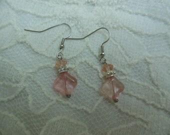Blush Pink Glass Earrings
