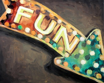 FUN Vintage Marquee Sign Oil Painting on Canvas