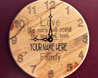 Personalized Clock Carved Engraved Wood 15 Inch
