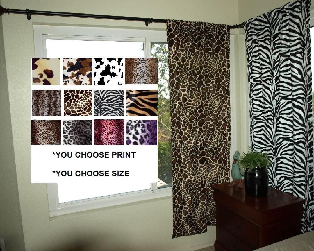 animal print curtain set 2 panels leopard zebra giraffe
