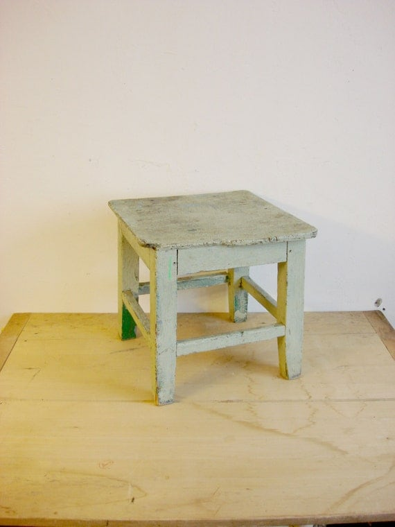 antique shabby chic stool small antique mint green. Black Bedroom Furniture Sets. Home Design Ideas