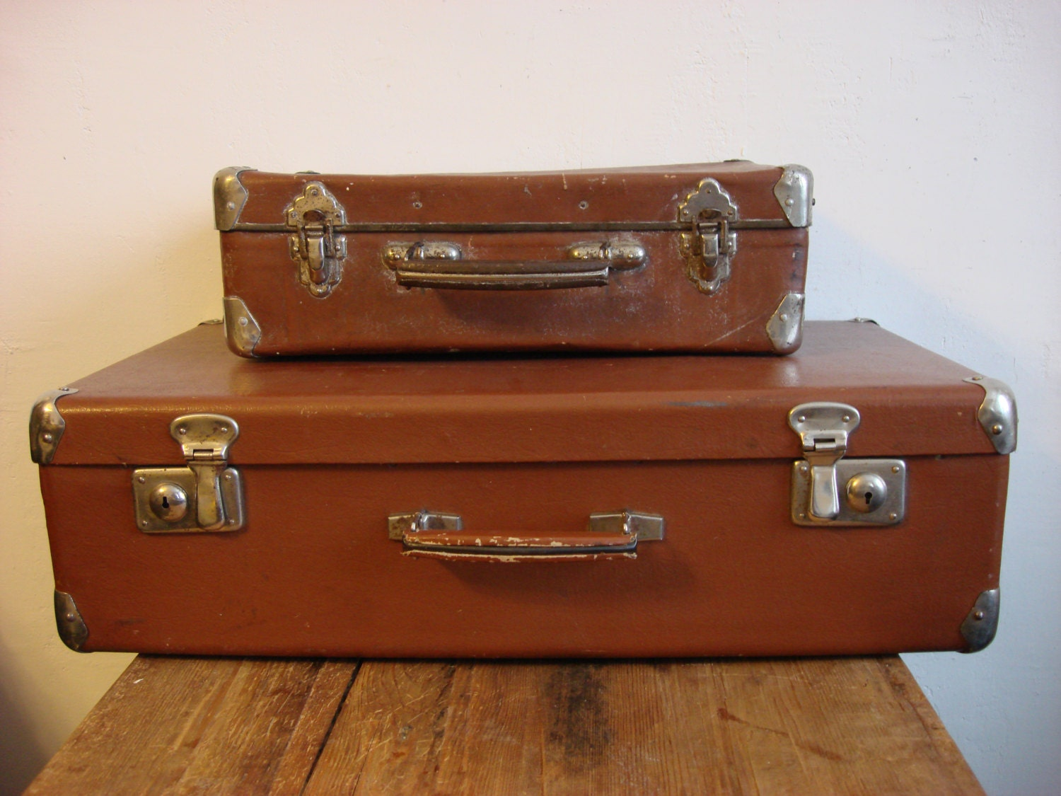 Sale 20 2 antique brown suitcases vintage by oldmoscowgallery - Vintage suitcase ...