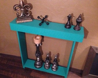 Skinny Aqua Colored Hallway Shelf, Entryway Shelf, Skinny Cedar Table, Narrow Hallway Shelf