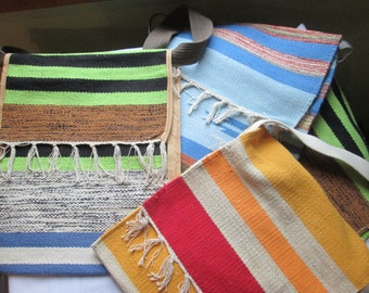 Mexican blanket shoulder tote bag with canvas strap