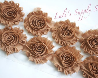 "1/2 Yard - 2.5"" Tan Shabby Rose Trim - Shabby Chiffon Rosettes - Shabby Chiffon Flowers - Flowers by the Yard - 2.5"" Shabby Flowers"