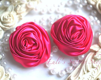 """2"""" Large Satin Ribbon Roses - Set of Two - Rolled Rosettes - Satin Rolled Rosettes - Large Satin Roses - Shocking Pink Satin Flowers"""