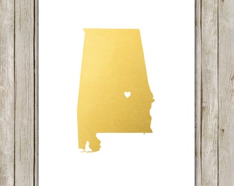 8x10 Alabama State Print, Geography Wall Art, Metallic Gold Art, Alabama Poster, Office Art Print, Home Decor, Instant Digital Download