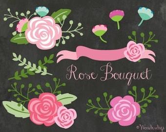 Flowers Clipart - Floral Rose Bouquet Clipart - Chalkboard Vintage Wedding Floral Clip art