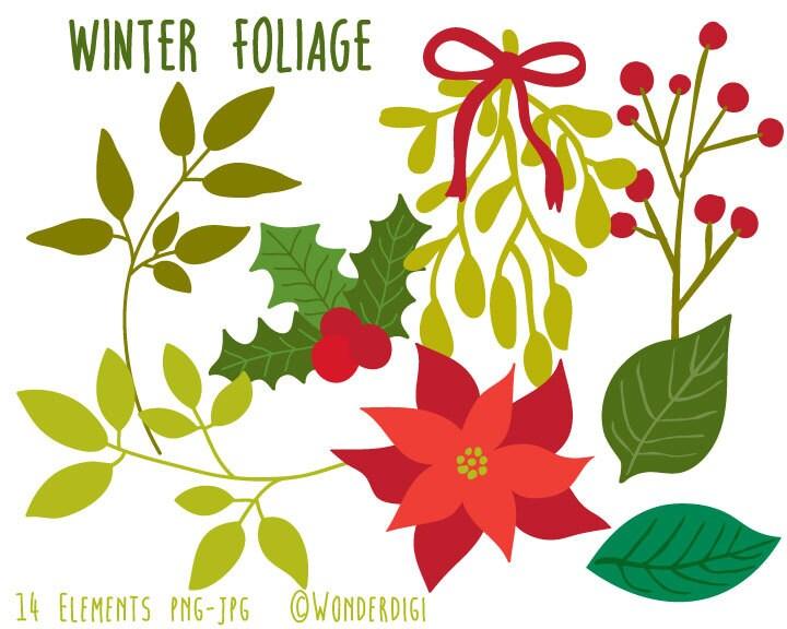 Christmas Clip Art Winter Foliage Clipart Holiday