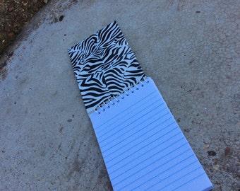 Zebra Ducttape Covered Mini Notebook