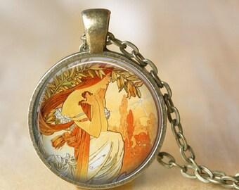 ALPHONSE MUCHA Necklace Glass Pendant Art Nouveau Glass Pendant Handmade Mucha Jewelry Mucha Jewellery