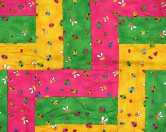 Bright, Cuddly Quilt With Swarms of Buzzing Bees and Ladybugs!