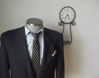 1980s Charcoal Gray Glen Plaid Suit Jacket / Vintage Mens Blazer - Size 40 Regular /Union Made