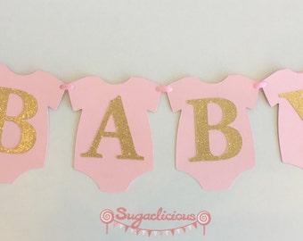 BABY ONESIE Pink & Gold Glitter Bunting Baby Shower Banner Garland