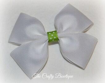 White Boutique Bow ~ Green & White Bow ~ Large White Bow ~ Green Polka Dot Bow ~ White Headband Bow ~ Summer Hair Bow ~ White Hair Bow