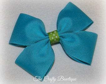 Turquoise Boutique Bow ~ Turquoise & Green Bow ~ Easter Hair Bow ~ Turquoise Hair Bow ~ Spring Hair Bow ~ Turquoise Headband Bow ~ Polka Dot