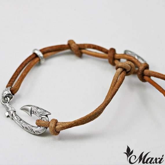 Hawaiian jewelry silver hawaiian fish hook leather by for Leather fish hook bracelet