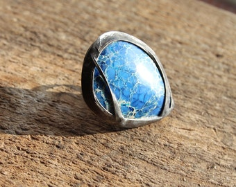 Big large blue dark blue Imperial Jasper stone ring, statement ring, Engagement ring, coctail ring, adjustable ring