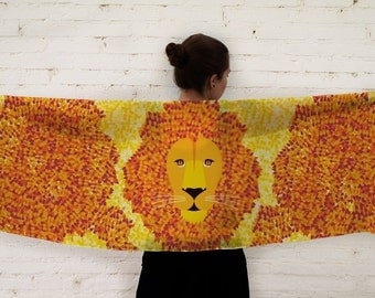 Orange Lion Scarf / Orange and Yellow Scarf / Geometric Lion Scarf