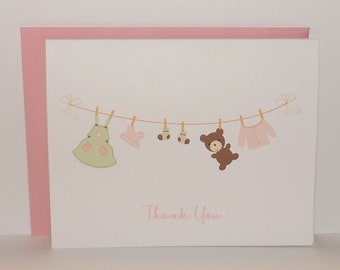 Baby Thank You Card - Baby Laundry - Baby Laundry Thank You Stationary - Set of 10
