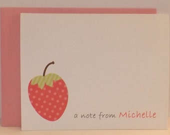 Strawberry Note card - Strawberry Stationary - Strawberry Thank You