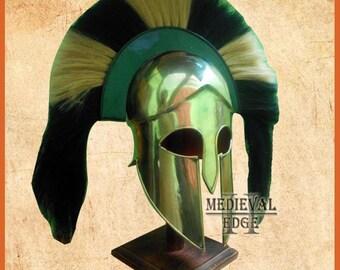 greek corinthian helmet re-enactment larp spartan helmets full brass helmet