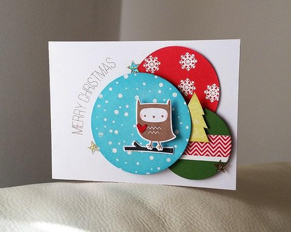 Items similar to Cute Owl Christmas Card, Handmade Christmas Card, Merry Chri...