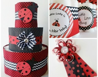 Ladybug Baby Shower Decor, Lady bug Mommy to be Corsage, Ladybug diaper cake, Mini diaper cake table centerpieces, Baby girl shower decor