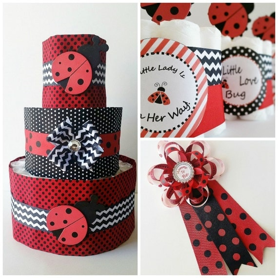 ladybug baby shower decor lady bug mommy to be corsage. Black Bedroom Furniture Sets. Home Design Ideas