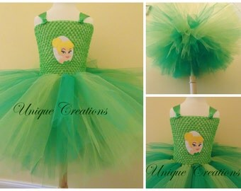 Tinkerbell inspired tutu dress with 6 layers of tulle, embroidered patch and satin ribbon