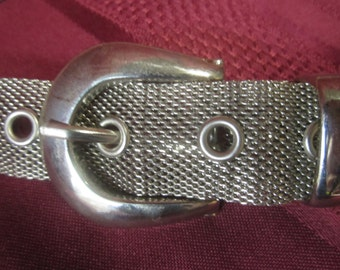 Silver Mesh Belt With Six Silver Shaped Flowers With Belt Buckle