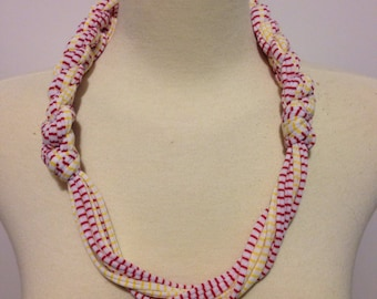 Go Kansas City Chiefs White with Red and Yellow Stripes T-Shirt Yarn Necklace Style #1 Adult