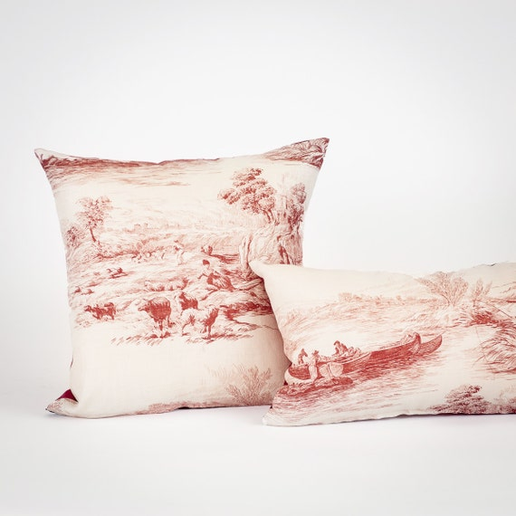 Cranberry Red Traditional Sofa Pillow Lumbar Vintage Look