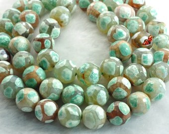 Agate turtleback faceted round beads 12mm,32 pcs
