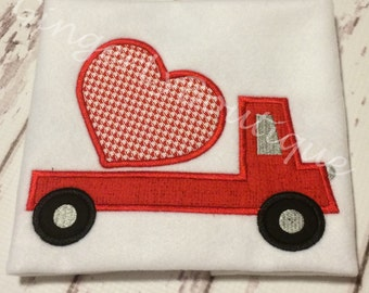Flatbed Truck Carrying Valentine Heart Shirt or Bodysuit, Boy Valentine Shirt, Valentine Truck Shirt, Boy Heart Shirt, Boy Valentine