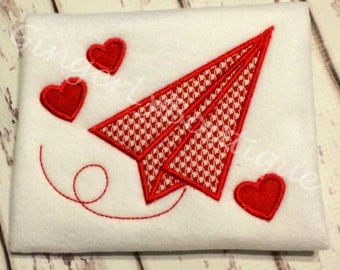 Paper Airplane with Hearts Valentine Shirt or Bodysuit